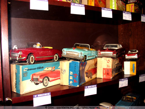 Toy cars with red flags