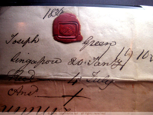 Old letter with red wax seal